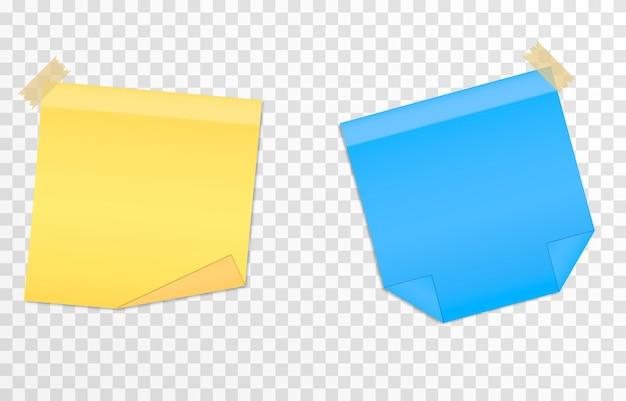 Vector set papieren voor notities op een geïsoleerde transparante achtergrond realistische plaknotitie