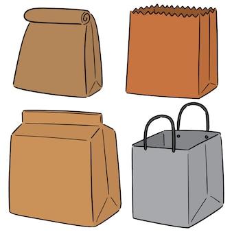Vector set papieren zak