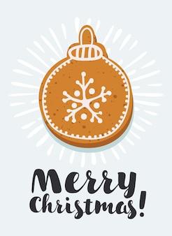 Vector set peperkoek koekjes: huis, peperkoek man, sterren, sneeuwvlokken, kerst ornamenten, sok, want, suikerriet en kerstboom. collectie van zelfgemaakte vakantie cookies. nieuwjaar bakkerij.