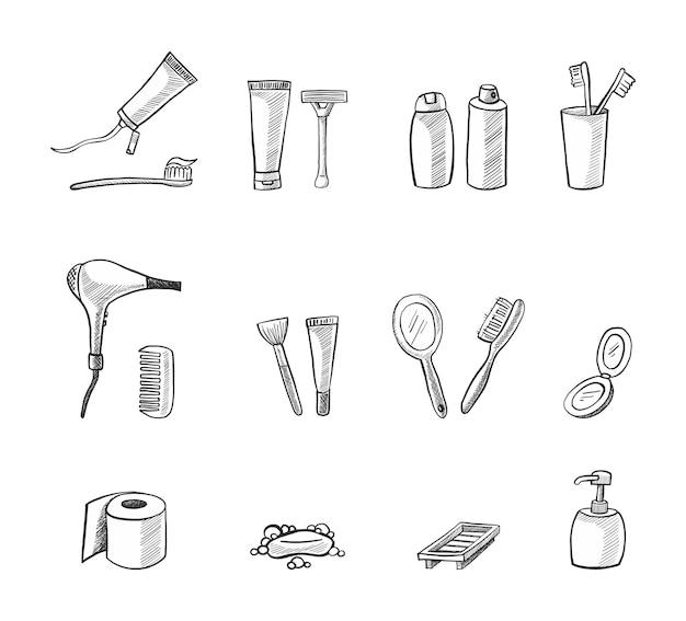 Vector set pictogrammen badkamer elementen tandenborstel shampoo haarborstel toiletpapier