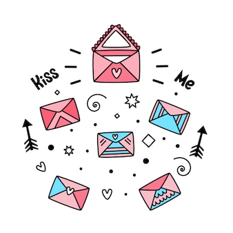 Vector set post enveloppen voor valentijnsdag
