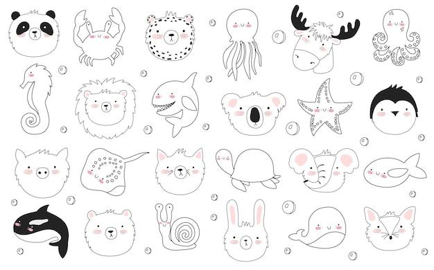 Vector set schattige poster met grappige zeedieren en tekst. ansichtkaart met schattige mariene objecten op de achtergrond, pastelkleuren. valentijnsdag, jubileum, babyshower, bruids, verjaardag