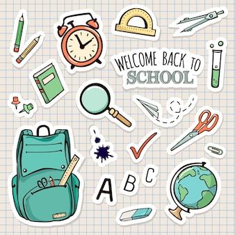 Vector set school stickers
