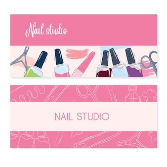 Vector set schoonheidssalon reclame banner sjablonen. voorraad illustratie. nagelsalon. visitekaartjes. roze achtergrond