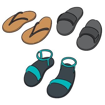 Vector set slippers