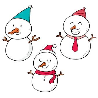 Vector set sneeuwpop