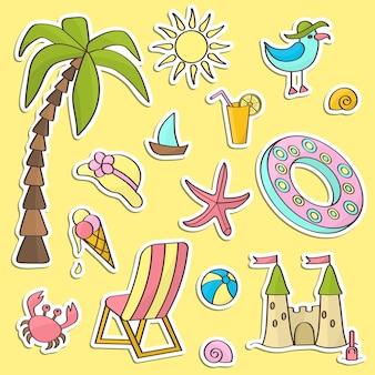 Vector set stickers met een zomervakantie aan zee, voor decoratie en design