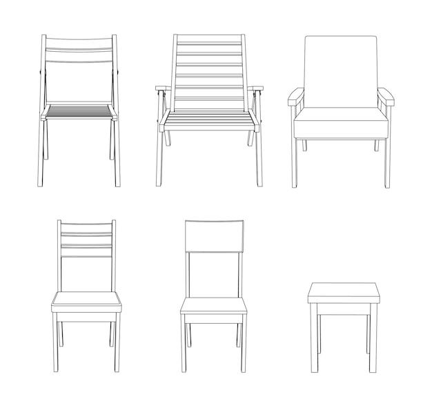 Vector set stoelen vooraanzicht overzicht illustratie