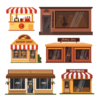 Vector set storefront gebouwen. koffieshop, bakker, supermarkt