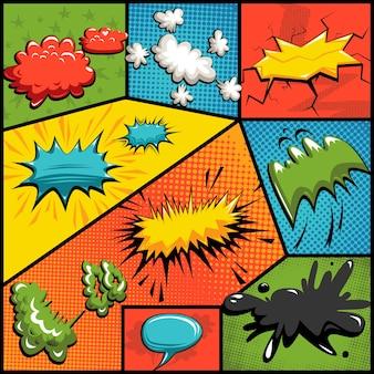 Vector set strips explosie bubbels