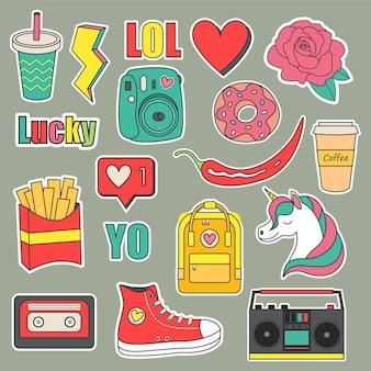 Vector set tieners stickers