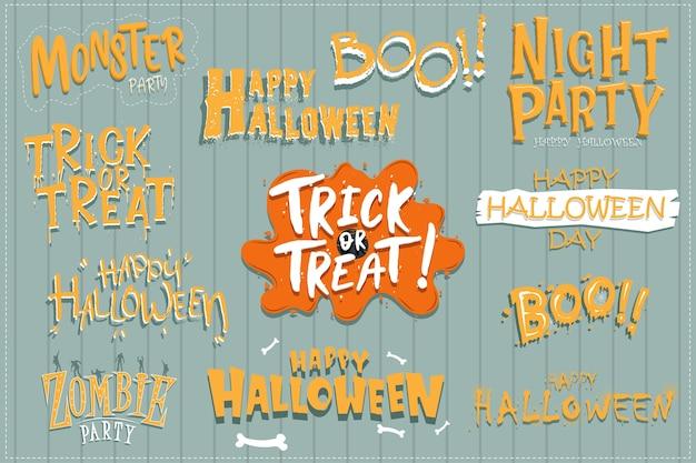 Vector set uitnodigingen voor halloween-feest of wenskaarten met handgeschreven kalligrafie en traditionele symbolen.