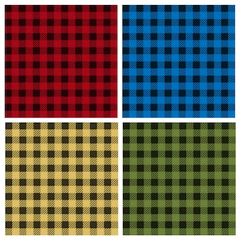 Vector set umberjack plaid naadloze patronen