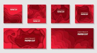 Vector set van 6 rode achtergronden met papier knippen