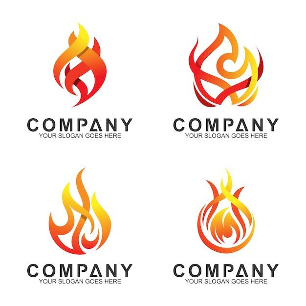 Vector set van abstracte vuur logo