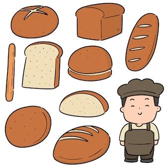 Vector set van bakker en bakkerij
