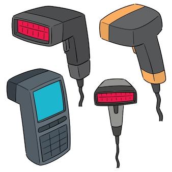 Vector set van barcodelezer
