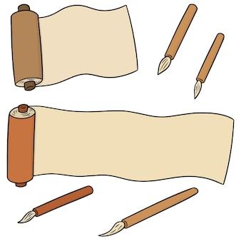 Vector set van bladeren en penseel
