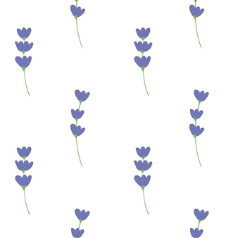Vector set van blauwe bloemen met groene bladeren op witte achtergrond zomer lente herfst naadloze patroon