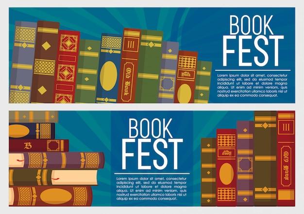 Vector set van boeken banner