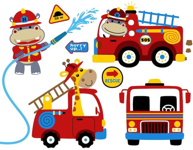 Vector set van brandweerman met grappige brandweerman cartoon