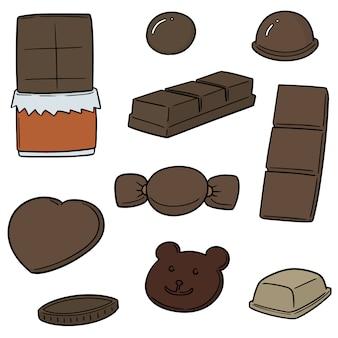 Vector set van chocolade
