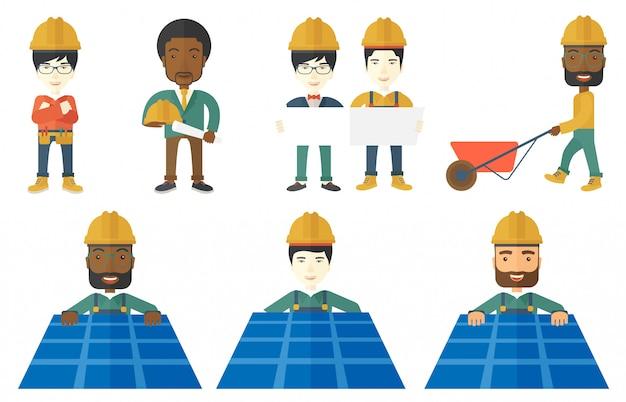 Vector set van constructeurs en bouwers tekens
