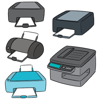 Vector set van de printer