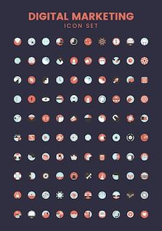 Vector set van digitale marketing pictogrammen