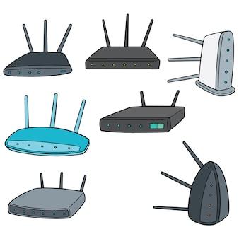 Vector set van draadloze router
