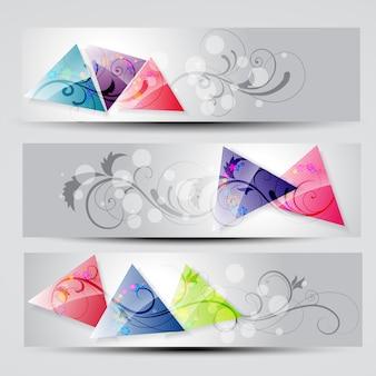 Vector set van drie headers
