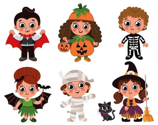 Vector set van drie jongens en drie meisjes gekleed in halloween kostuums