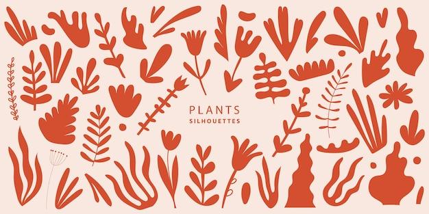 Vector set van exotische palmbladeren, planten, bloemen van verschillende vormen en maten illustratie, geïsoleerd. terracotta kleur plantencollectie in vlakke stijl. handgetekende silhouetten