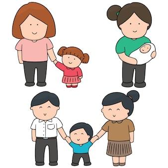 Vector set van familie