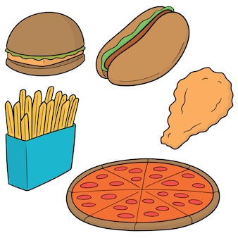 Vector set van fast food