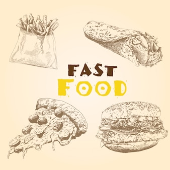 Vector set van fast food.