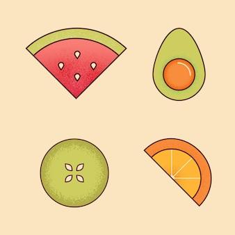 Vector set van fruit groene appel, watermeloen, avocado's met bot-in, oranje