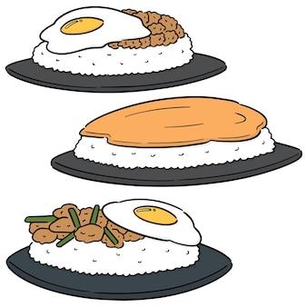 Vector set van gebakken ei en rijst