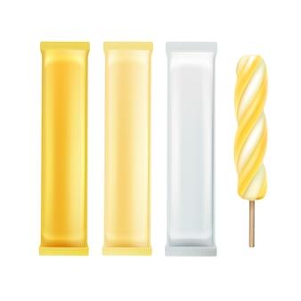 Vector set van gele banaan spiraal popsicle lollipop ice cream fruit juice ice