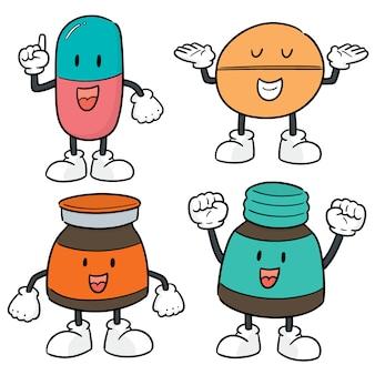 Vector set van geneeskunde cartoon