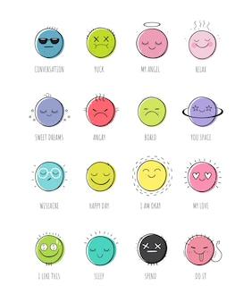 Vector set van glimlachen.