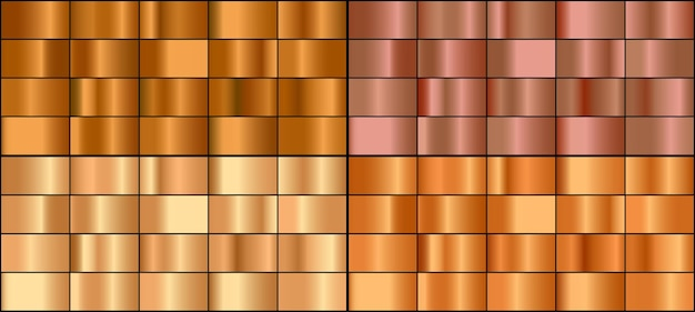 Vector set van goud en brons metalen verlopen.