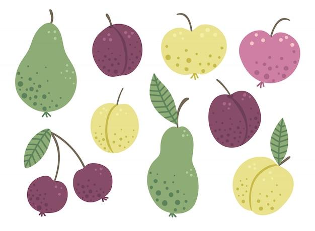 Vector set van grappige hand getrokken platte tuin fruit en bessen. gekleurde appel, peer, pruim, perzik, kers geïsoleerd op een witte ruimte. foto met oogstthema