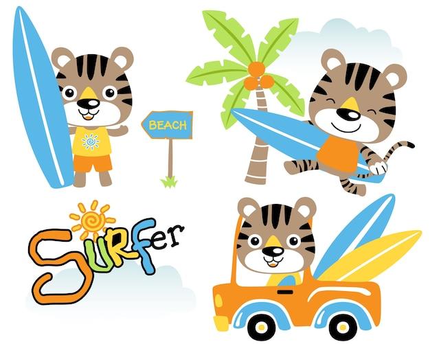 Vector set van grappige kat de surfboarder