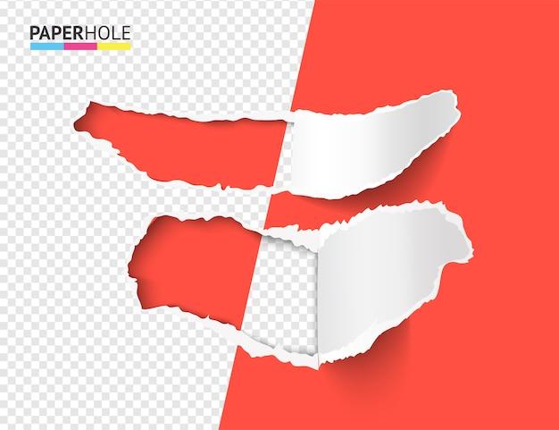 Vector set van half lege realistische stukjes gescheurd papier met de randen van het gat scheuren