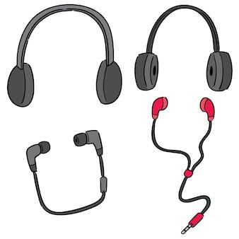 Vector set van hoofdtelefoon en oortje