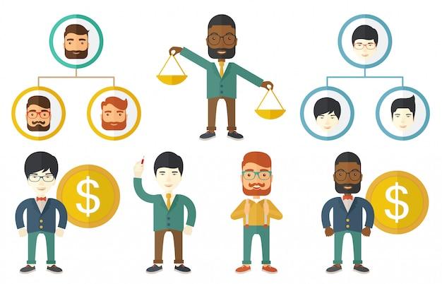 Vector set van illustraties met mensen uit het bedrijfsleven.