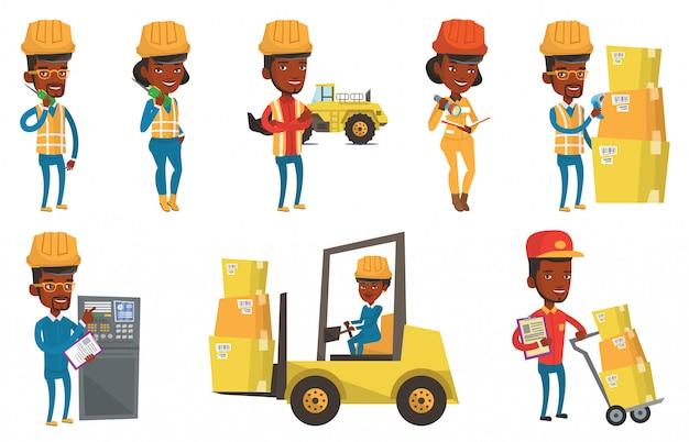 Vector set van industriële werknemers.