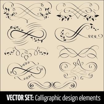 Vector set van kalligrafische en pagina-decoratie ontwerpelementen. elegante elementen voor uw ontwerp.