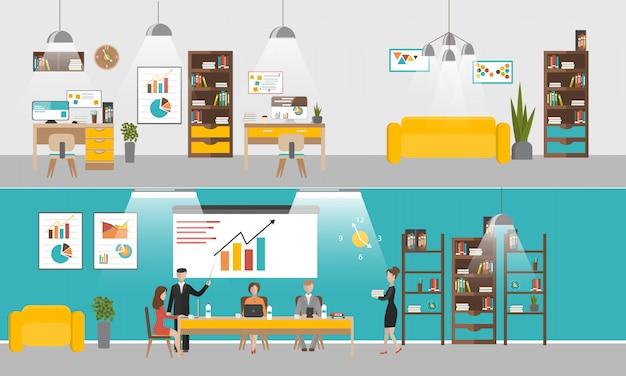 Vector set van kantoor interieur banners in vlakke stijl ontwerp. mensen uit het bedrijfsleven en kantoorpersoneel.